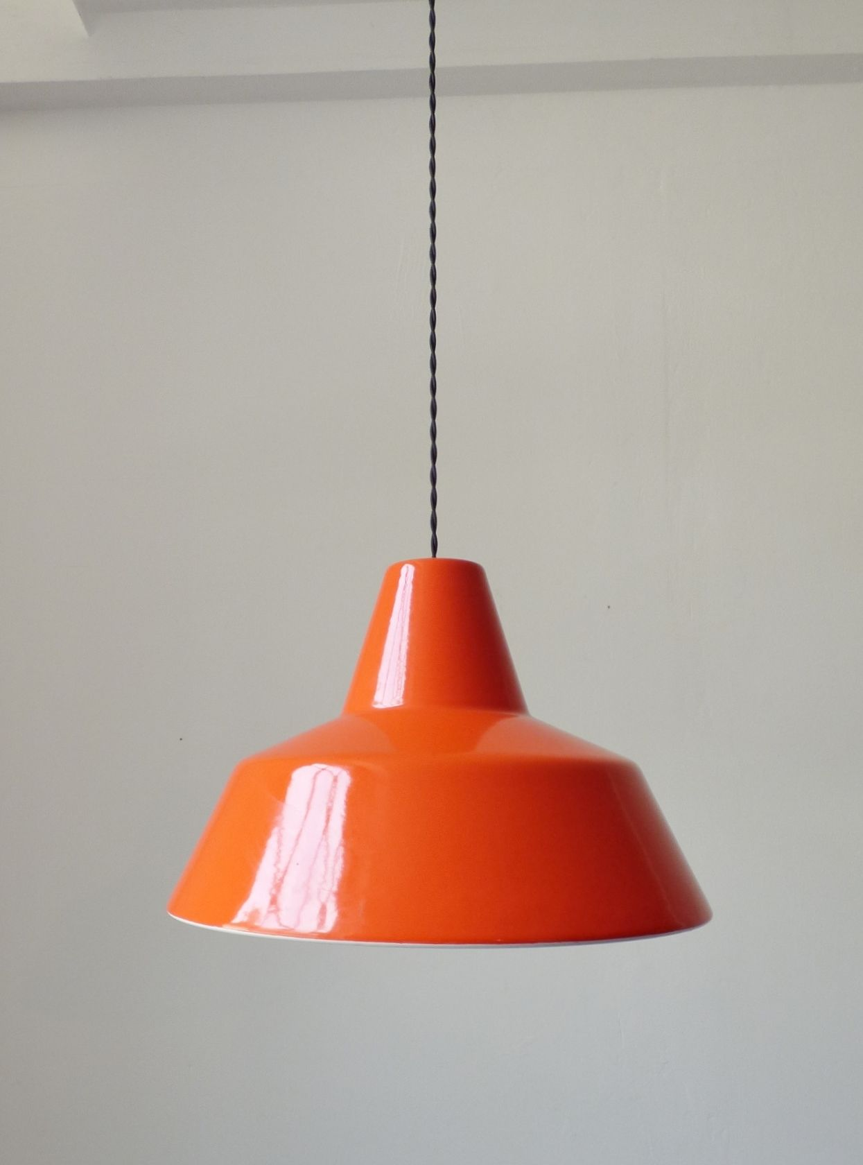 1960s Orange Louis Poulsen Enamel Pendant Lamp Orange Pendant