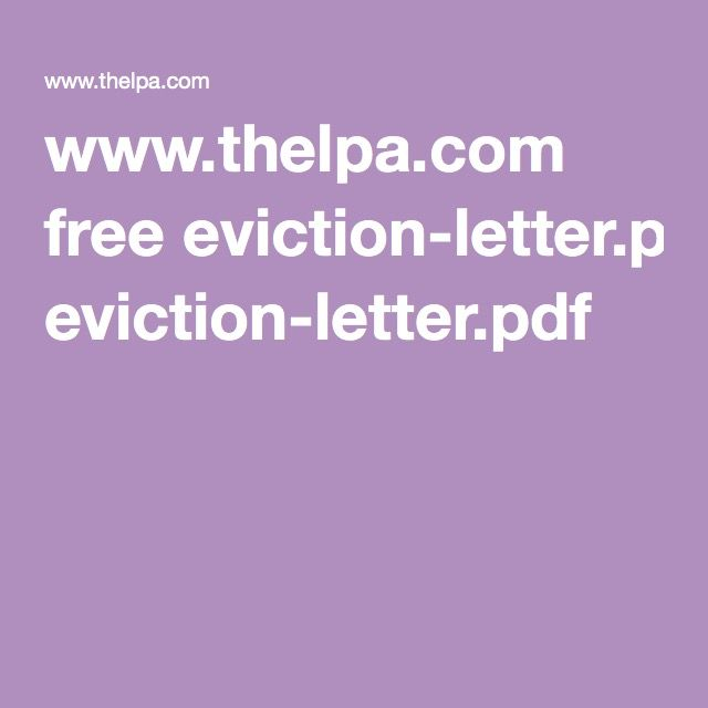 wwwthelpa free eviction-letterpdf Rentals Pinterest - rental agreement letters