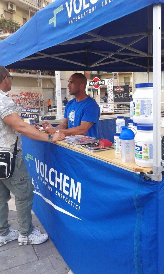 Gazebo Volchem presso la gara di bodybuilding Rosciaunum Classic a Rossano Calabro.