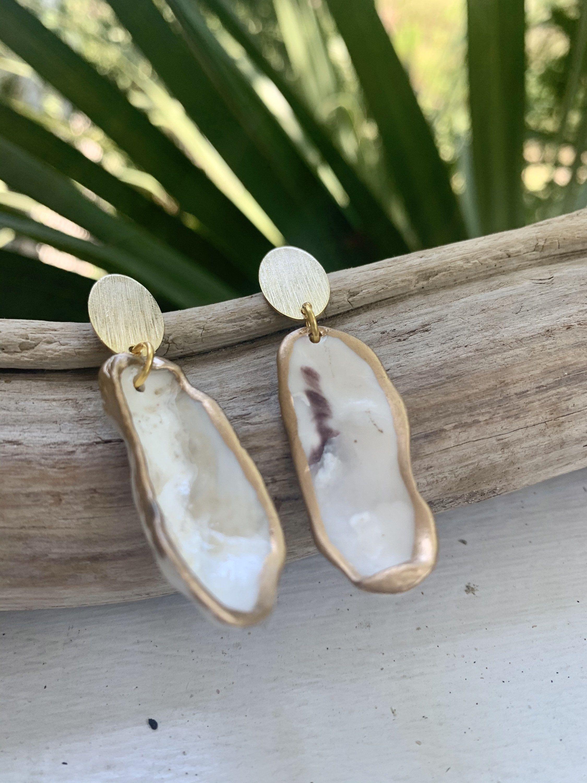 The Bay Creek Marina Earrings Charleston Sc Inspired 100 Etsy Clear Earrings White Earrings Oyster Shell