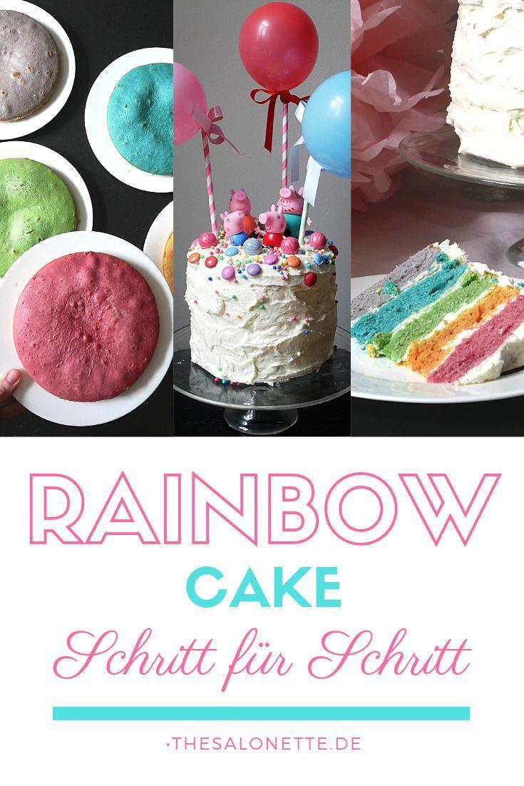 Eine Regenbogen Torte Das Braucht Jede Marchenhafte Party Einhorn Prinzessin Oder Peppa Wutz Die Regenbogentorte Peppa Wutz Kuchen Regenbogenkuchen Rezept