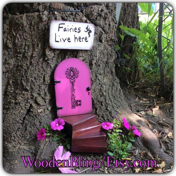 Jardin de fées situé, porte de la fée, jardin, art jardin, décoration de jardin, anniversaire, cadeaux pour les filles, pendaison de crémaillère, Green, clé, fée