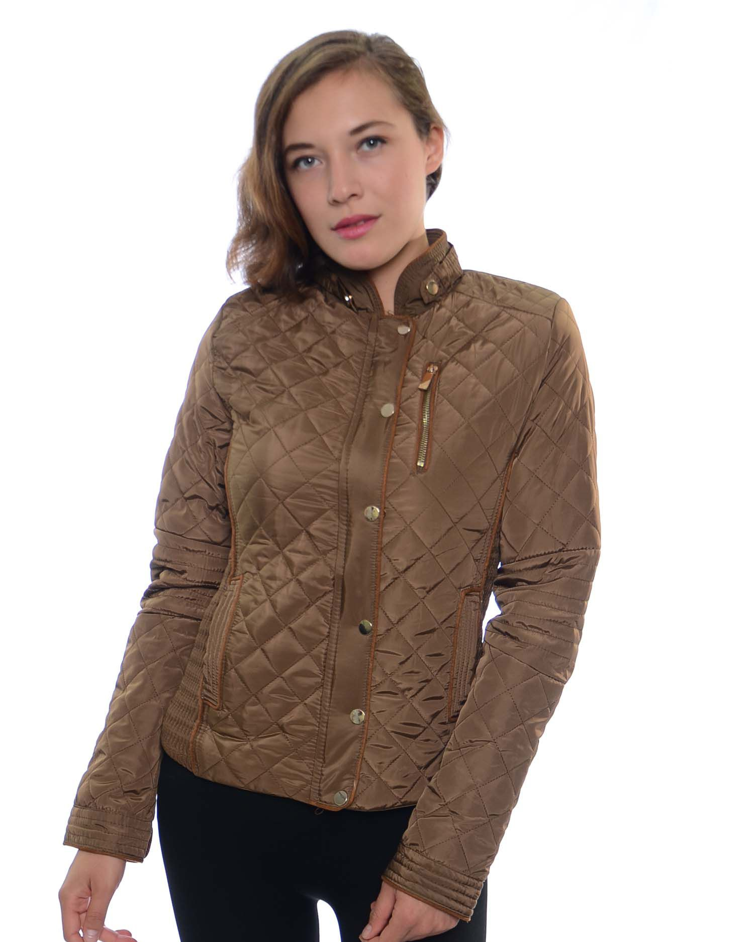 Ladies Fur Lined Quilted Jacket, Gathering Side Panels and