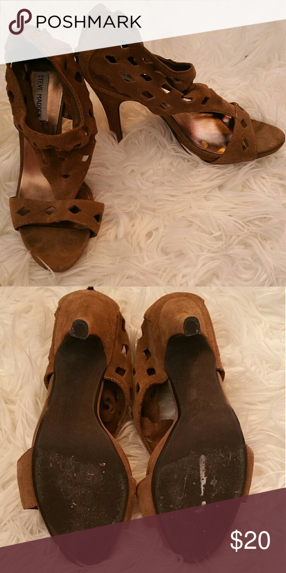 Steve Madden Tan Suede Open Toe Heels - 8 Leather suede upper. Zip in the back. Worn only a few times. Good overall condition. Minimal wear on the bottoms. Steve Madden Shoes Heels