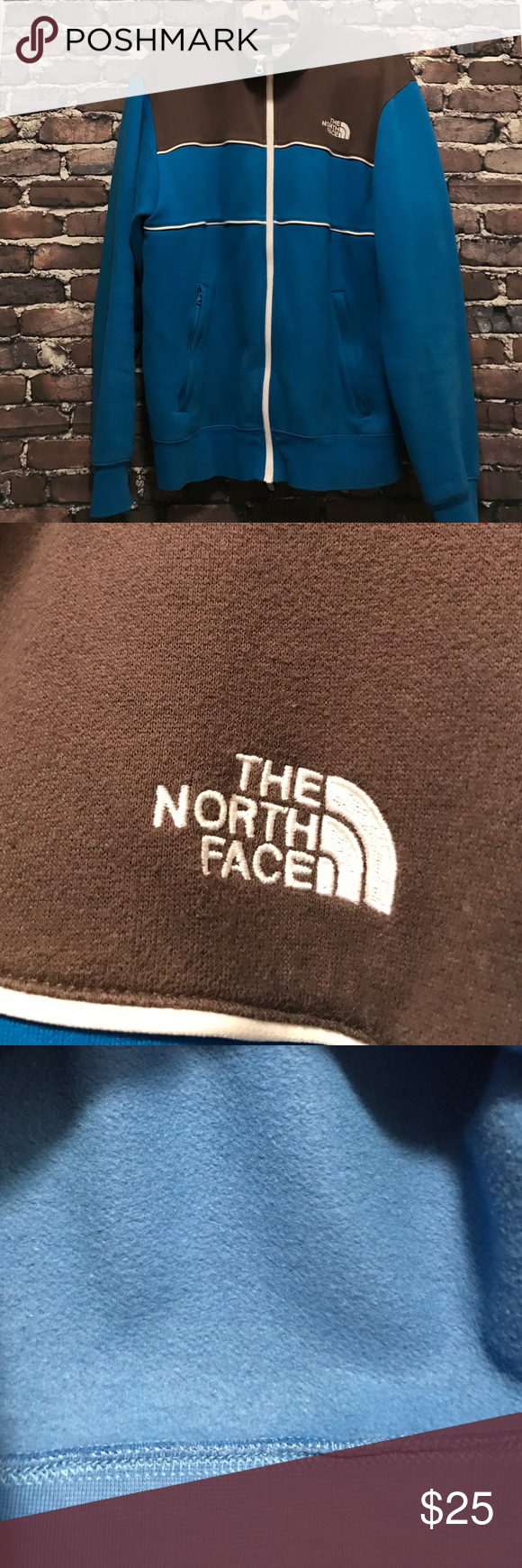 North face jacket sweatshirt zip up Gently used north face grey and blue sweatshirt. No stains . Like new condition The North Face Sweaters Zip Up