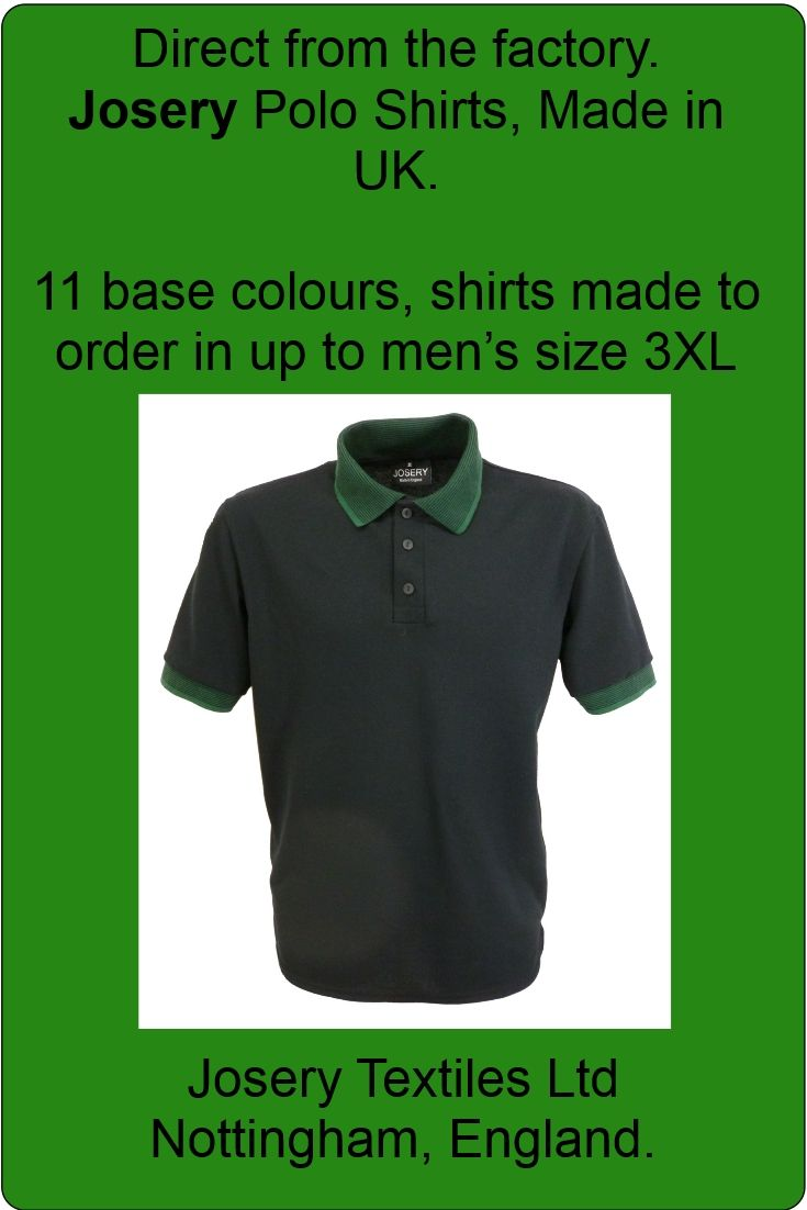 d755844d Men's black polo shirt with dark green striped collar and cuffs. Made in  England.