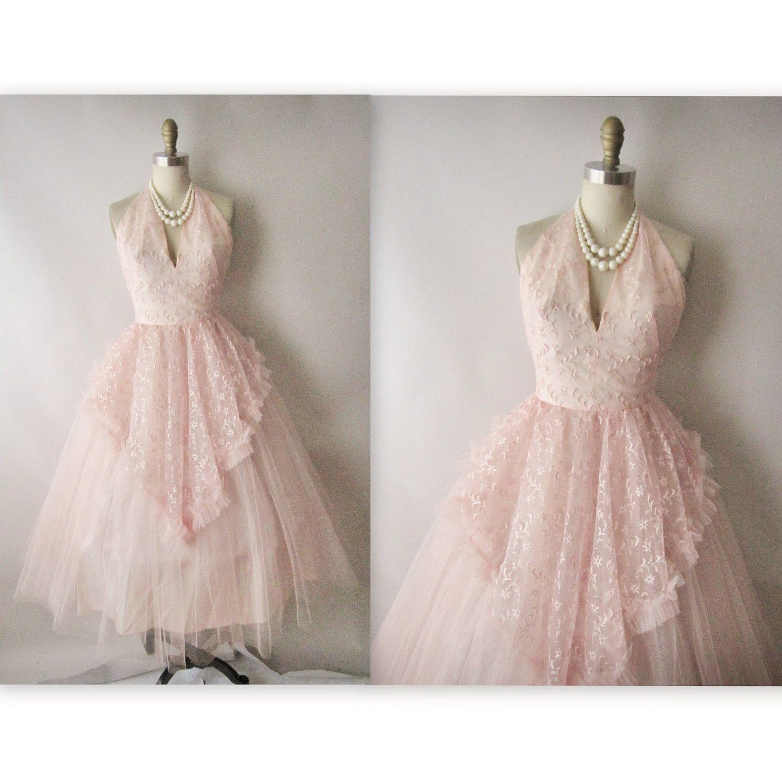 50\'s Prom Dress // Vintage 1950\'s Embroidered Pink Tulle Halter ...