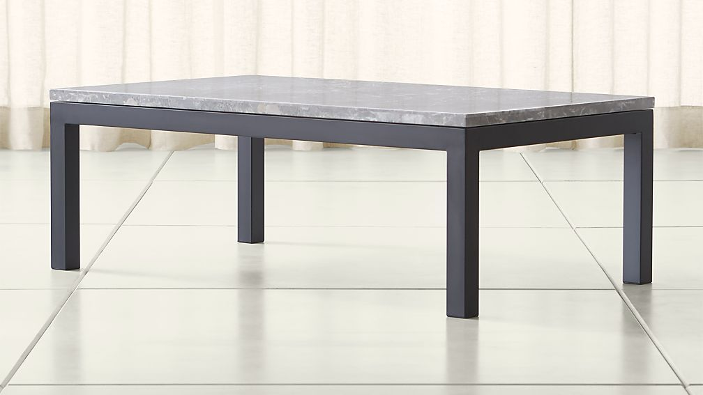 Parsons Grey Marble Top Dark Steel Base 48x28 Small Rectangular Coffee Table Coffee Table Coffee Table Crate And Barrel Marble Tables Design