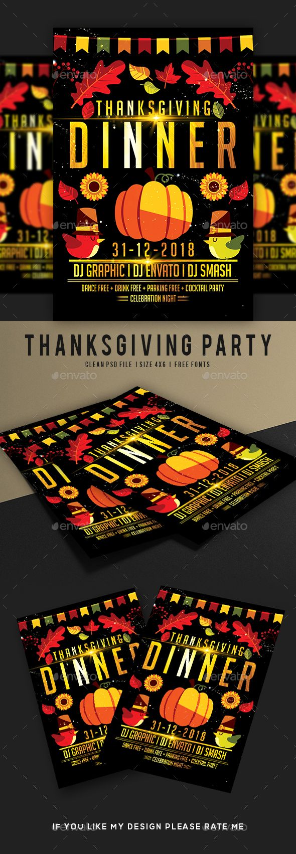 Thanksgiving Dinner Flyer  Fonts Event Flyers And Font Logo