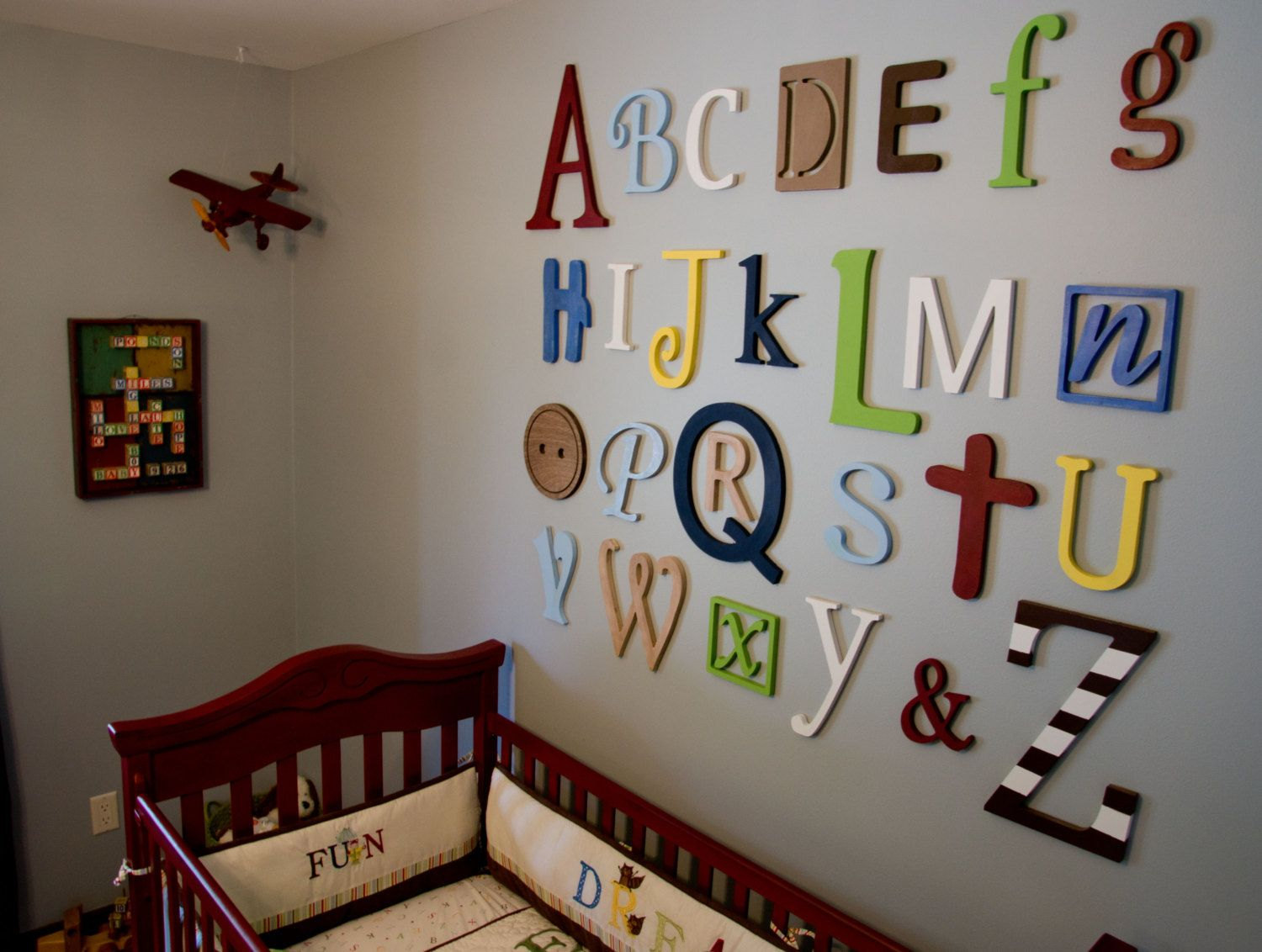 unfinished wooden alphabet set in mixed fonts and sizes wall hanging letters nursery decor wooden letters for nursery