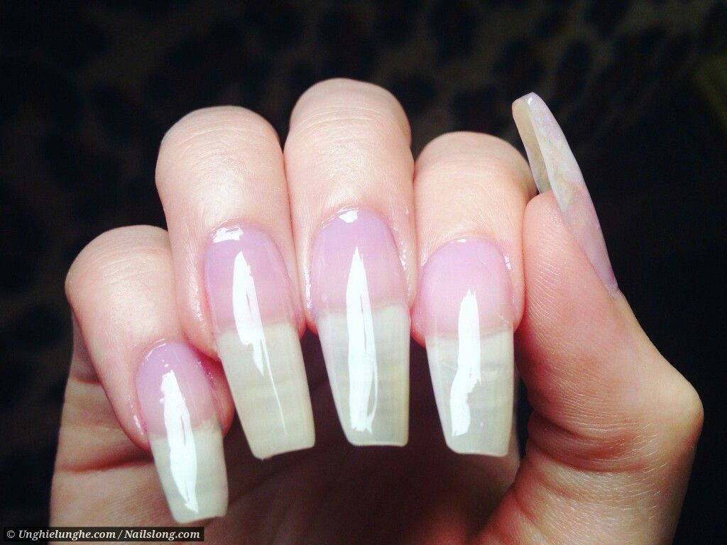 Long natural acrylic nails   Double Team + Dynamicpunch Clear ...