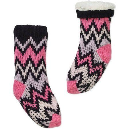 Girls' Chevron Berber Lined Slipper Socks with Grippers, Size: Medium, Pink