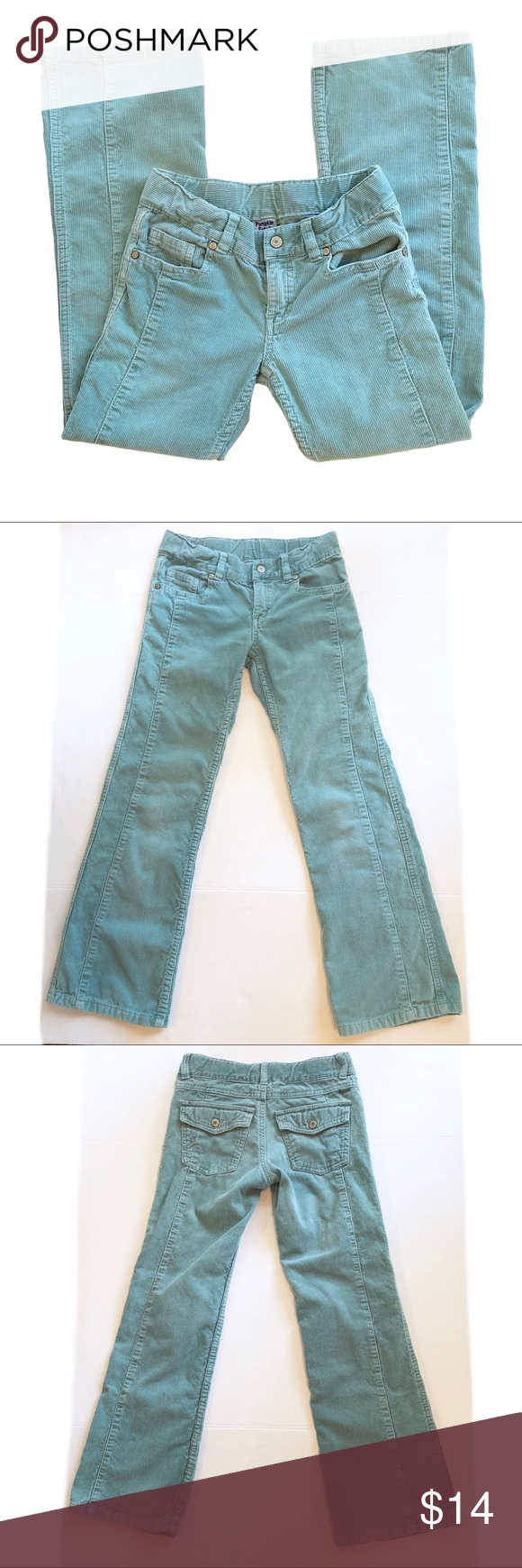 Sz.9 Pumpkin Patch Teal Corduroy Pants Pumpkin Patch teal corduroy pants. Girls size 9, adjustable. Cute design, see all photos. GUC: no rips or holes. One tiny mark on pant leg, pictured. Normal wash wear. pumpkin patch Bottoms #pumpkinpatchoutfit