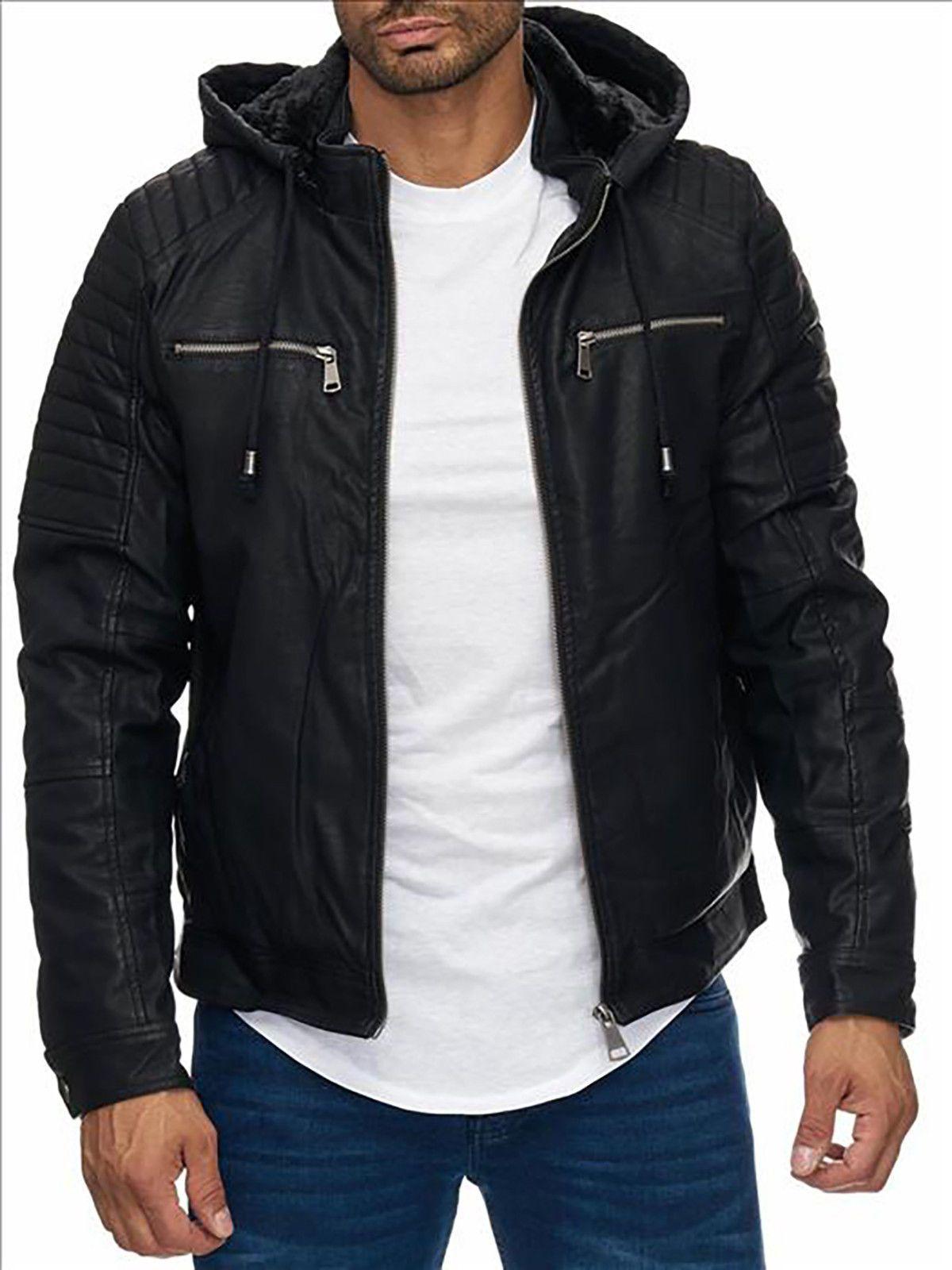 Mens Biker Jacket PU Leather Faux Fur lined warm winter