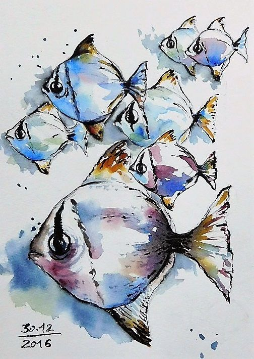 Pin By Judy Peckinpaug On 8 17 17 Watercolor Fish Watercolor