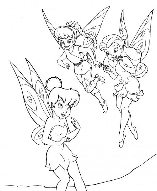 Tinker Bell And Two Friend Coloring Page