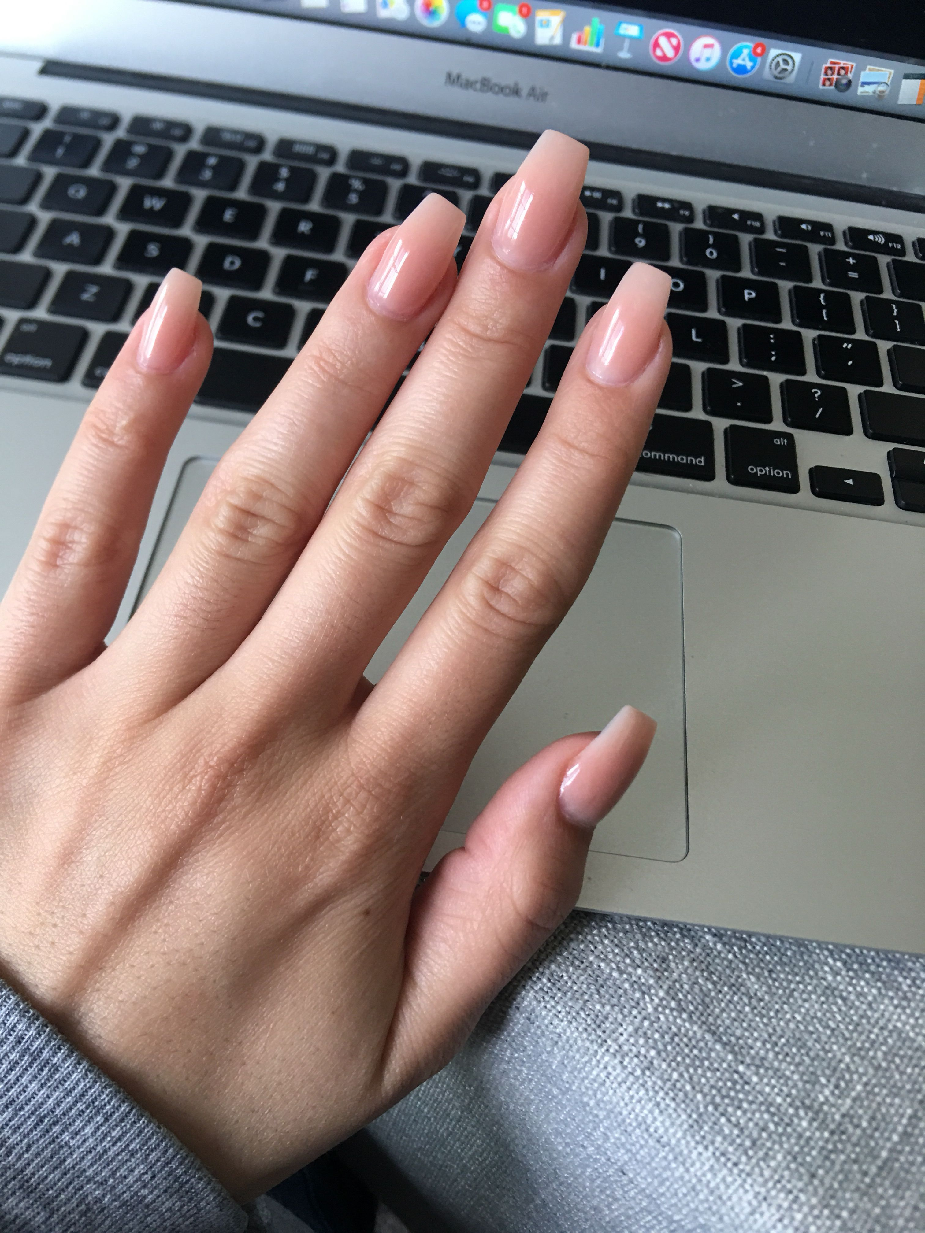 Natural Acrylic Extension Acrylic Extension On Natural Nails Soft Pink Powder Clear Gel Top Coat Na In 2020 Natural Acrylic Nails Pink Gel Nails Pink Acrylic Nails