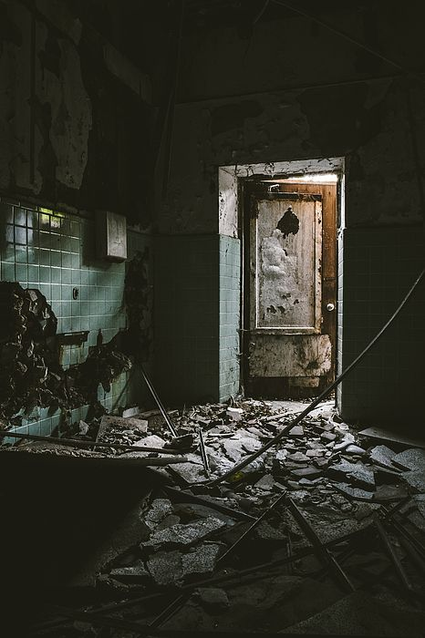 Scary Room And Open Door In Abandoned Building. Creepy Fine Art Photography Prints and Wall & Scary Room And Open Door In Abandoned Building Canvas Print / Canvas ...