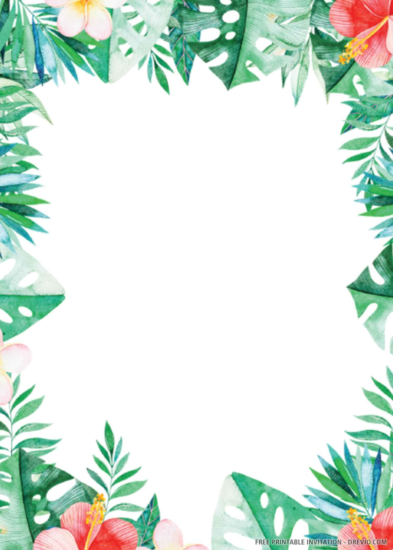Free printable tropical wedding invitation