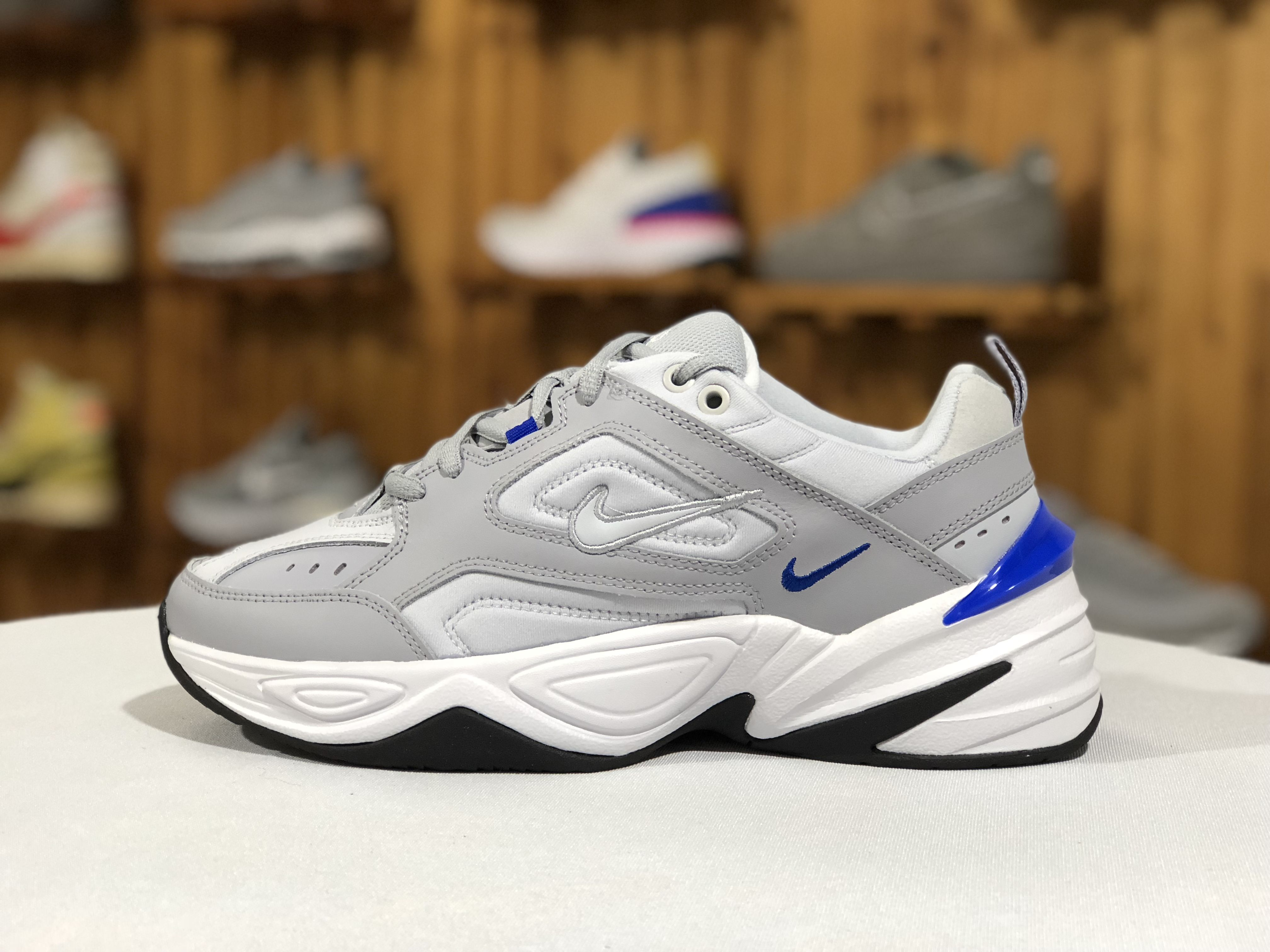 84a9928597cb0 2019 Nike M2K Tekno Wolf Grey Racer Blue Men Chunky Daddy Shoes ...