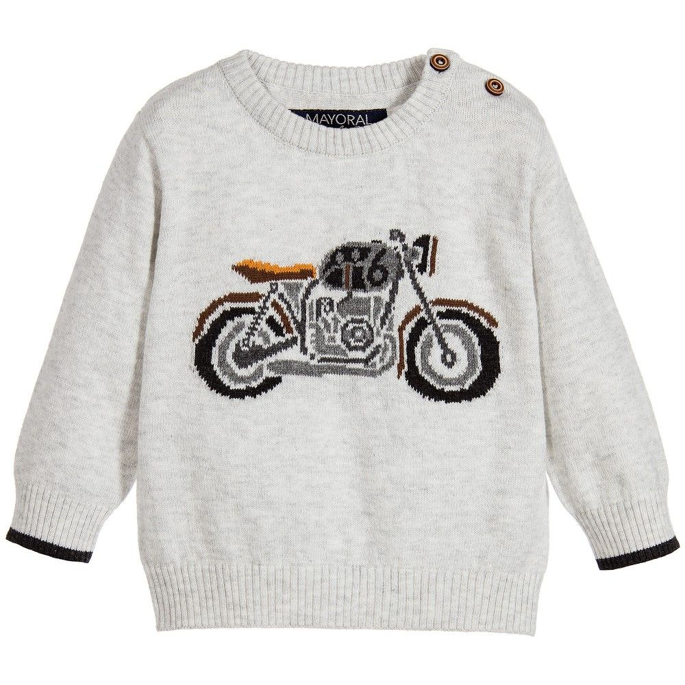 3723a6b82d48 Mayoral Baby Boys Grey Motorcycle Sweater at Childrensalon.com ...
