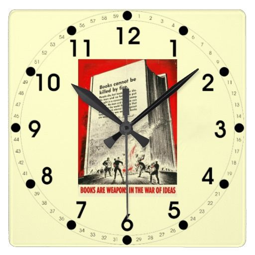 Books Can T Be Killed By Fire Clock Vintage Wall Clock Vintage Clock