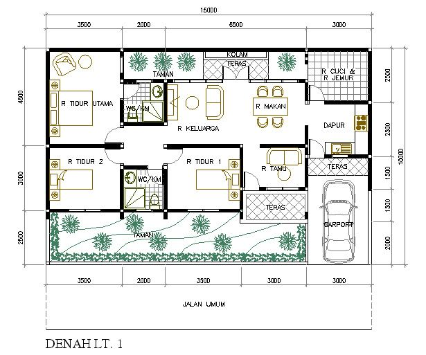 12 Denah Rumah Minimalis 3 Kamar Tidur Denah Rumah Pinterest