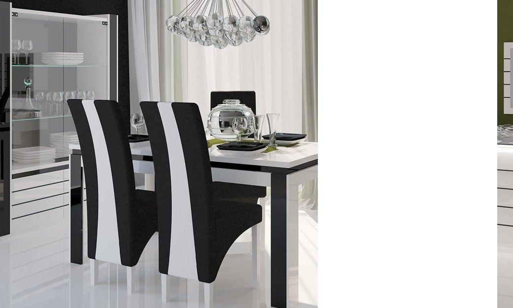 lot de 2 chaises de salle manger design indro coloris noir et blanc en - Chaise Salle A Manger Design 2