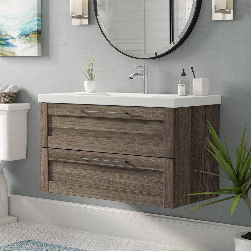 Yerger 36 Wall Mounted Single Bathroom Vanity Set 36 Inch