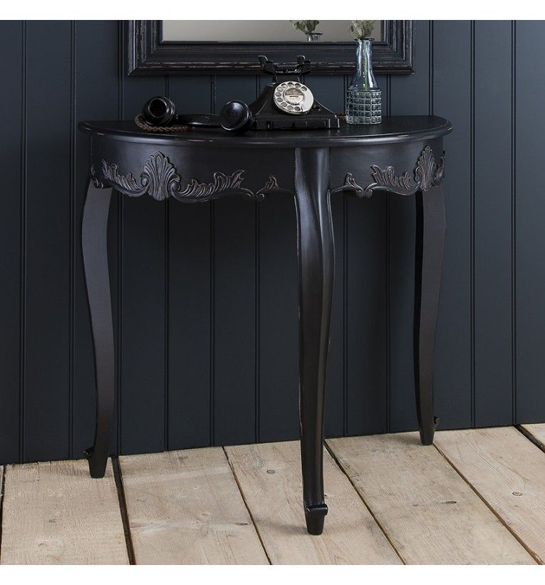 Sophisticated Half Round Console Table And Mirror With A Distressed Antique Black Painted Finish W29
