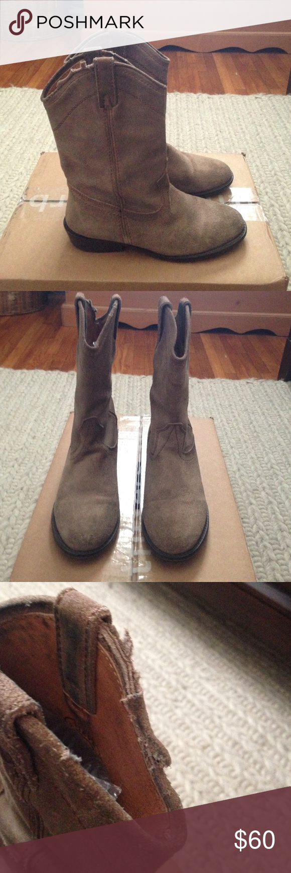 Steve Madden Cowboy Boots Lasso taupe suede boots. Gently used. Some fraying on top of one boot, see pictures. Steve Madden Shoes Ankle Boots & Booties