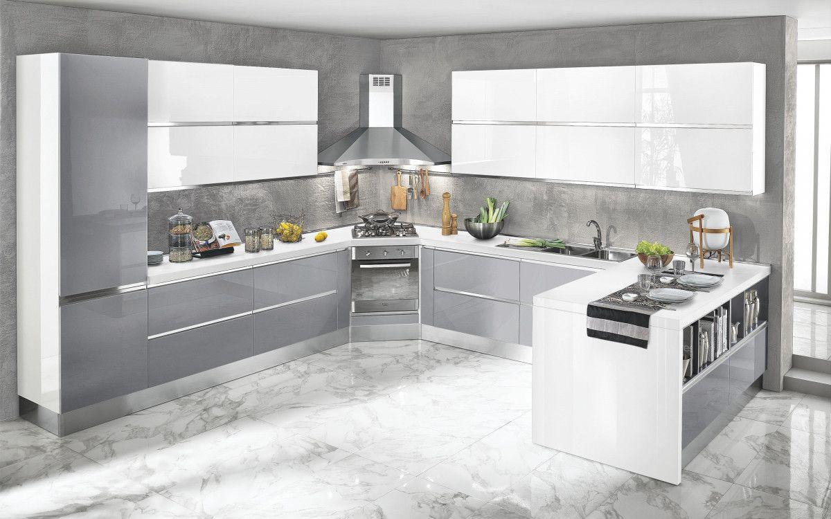 Cucina componibile, bianco, bordeaux lucido Veronica