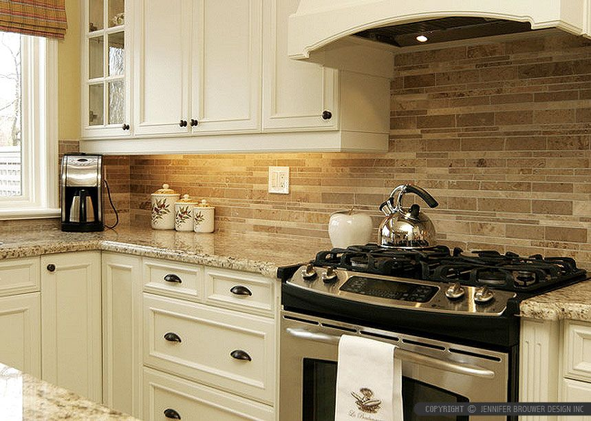 travertine subway kitchen backsplash tile Beige cabinets Kitchen