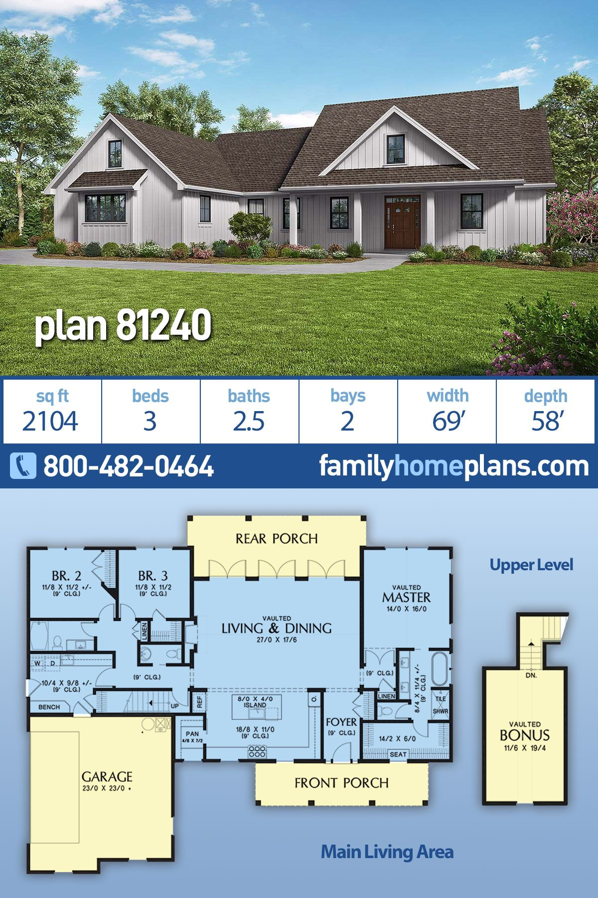 Southern Style House Plan 81240 With 3 Bed 3 Bath 2 Car Garage Family House Plans Modern Style House Plans Modern Farmhouse Plans