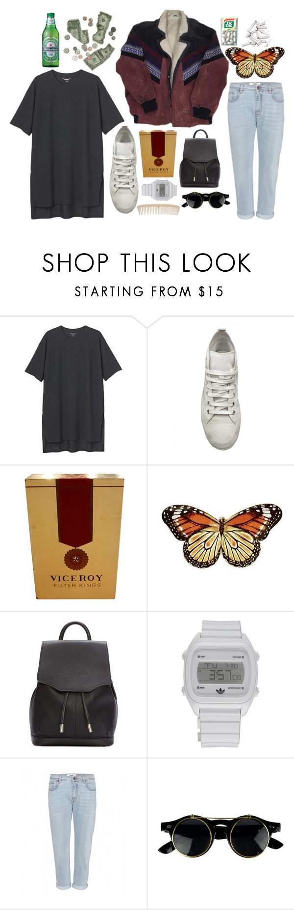 """*listens to mac demarco once*"" by imagicality ❤ liked on Polyvore featuring Monki, Ann Demeulemeester, Juliska, rag & bone, adidas and Fendi"