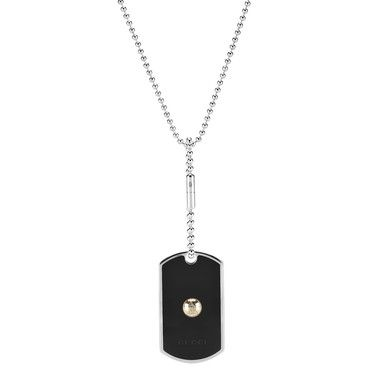 14a3ede5d Gucci Mens Dog Tag With Black Enamel Pendant Necklace, in Sterling Silver