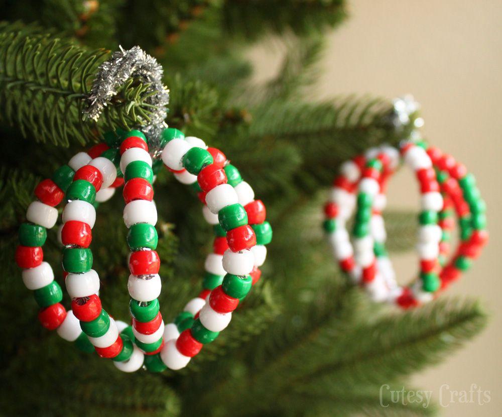Handmade christmas ornaments with beads - Pony Bead Christmas Ornaments