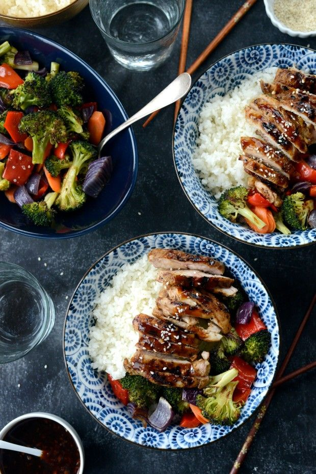 Grilled Teriyaki Chicken Rice Bowls Bowl Meals Pinterest Rice