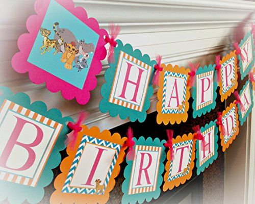 Disney Lion Guard Inspired Happy Birthday Banner Orange Stripes