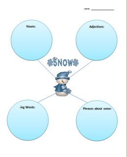 FREE graphic organizer for a snow writing.