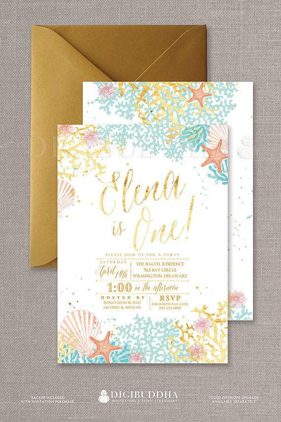 Beach First Birthday Invitations In A Boho Chic Watercolor Ocean