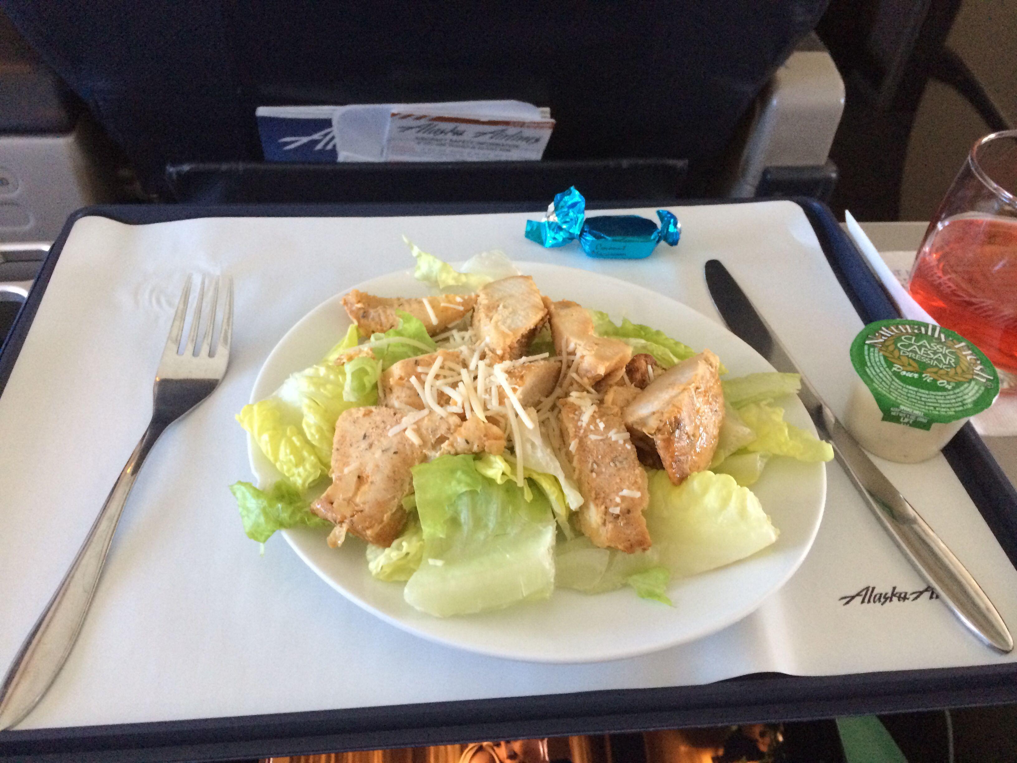 Alaska Airlines Burbank Seattle First Class Meal 737 700