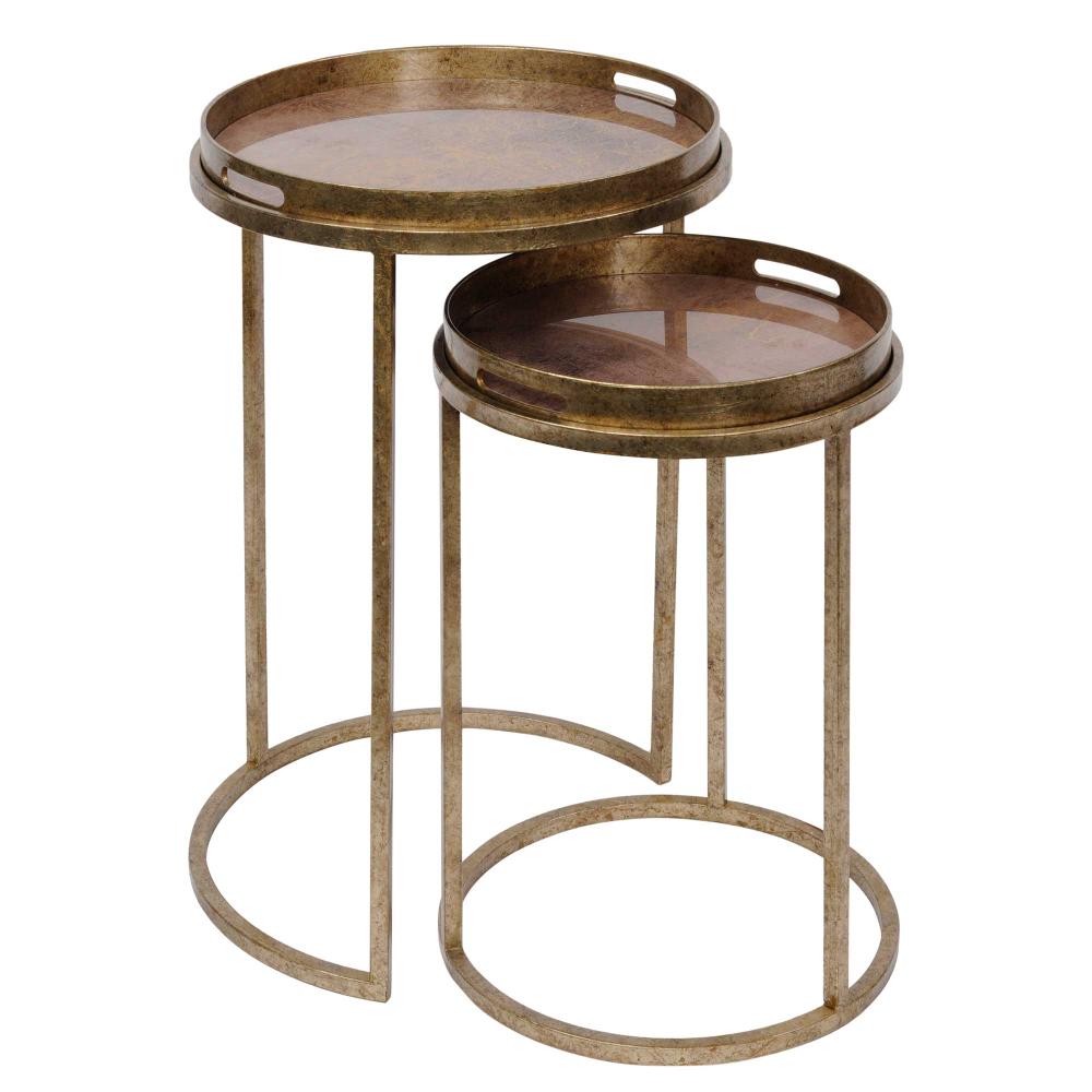 Set Of 2 Atlas Side Tables Antique Gold Barker Stonehouse