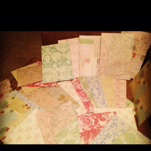 DIY envelopes  Find scrap paper open up and trace a store bought envelope, cut, fold, glue