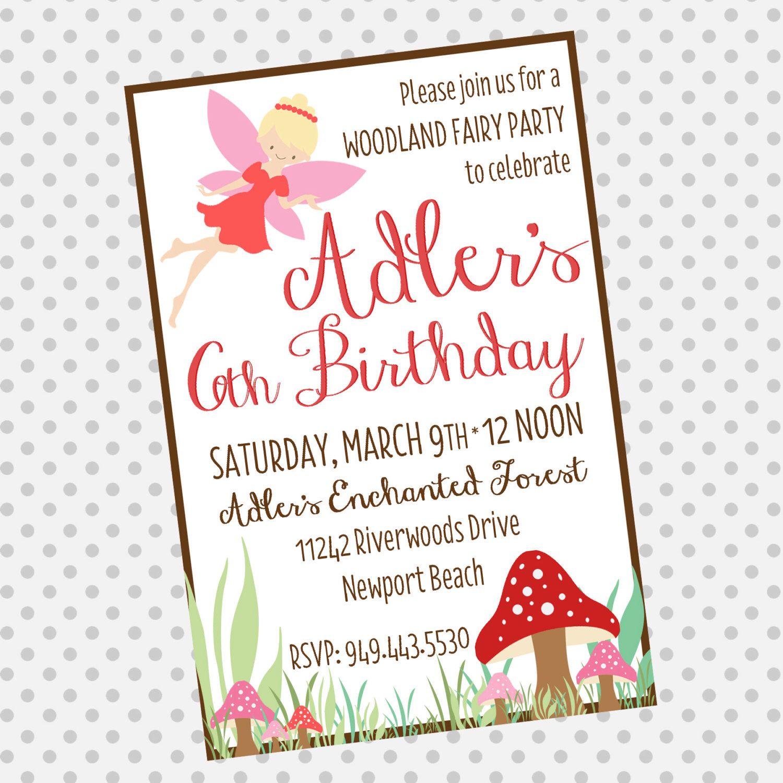 Custom woodland fairy birthday invite fairy party