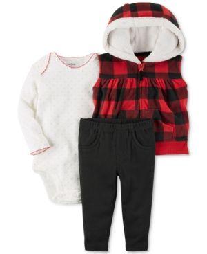 738a73e14 Carter's 3-Pc. Hooded Vest, Bodysuit & Leggings Set, Baby Girls (0-24 months)  - Red 18 months