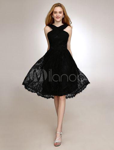 ba6b39ad4 Cabestro vestido de Dama de negro con encaje en la longitud de la rodilla -  Milanoo.com. 88€ 28colores