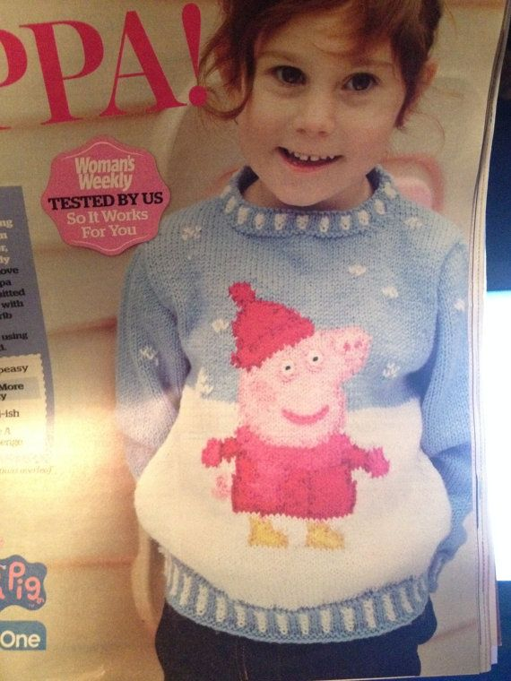 "Photo of Peppa Pig Jumper 22-24-26 ""strikkeoppskrift"
