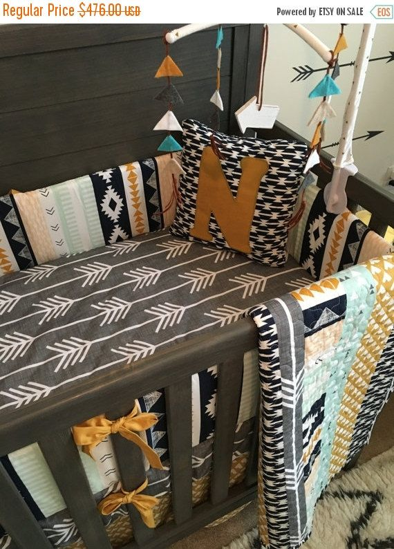 Baby Boy Bedding Crib Bedding Set Nursery Custom Noah Woodland Baby Bedding Mini And Standard Aztec Tribal Gold Bumper Sheet Skirt Quilt Woodland Baby Bedding Crib Bedding Boy Baby Bed