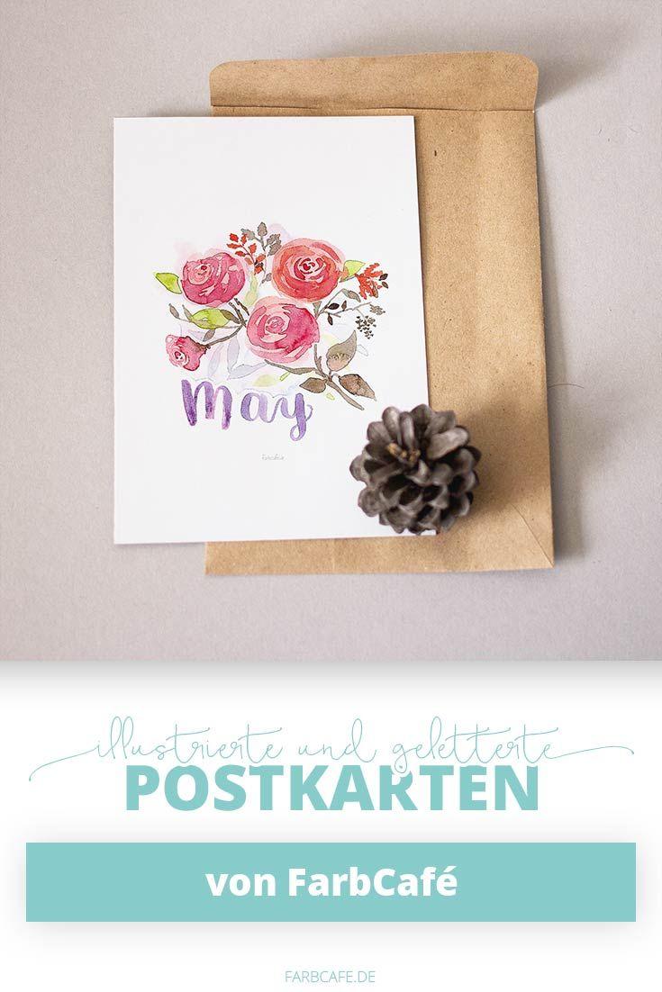 Briefumschlag Bedruckt Aquarellblumen